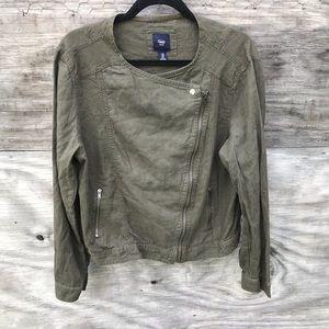 Gap Linen Moto Jacket Olive Size XL